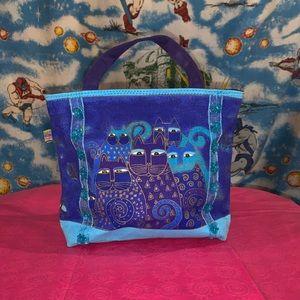 Laurel Burch cat blue and purple purse bag